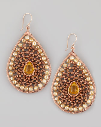 Beaded Teardrop Earrings, Rose Golden
