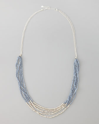 Multi-Chain Beaded Necklace, Silver Color