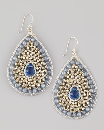 Beaded Teardrop Earrings, Silvertone