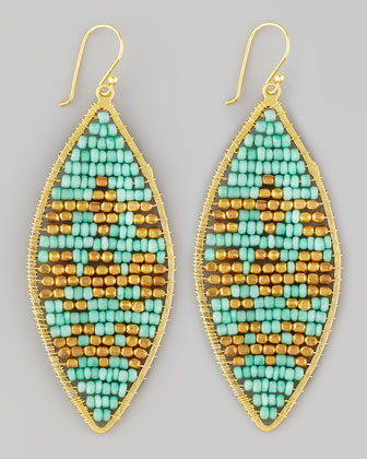 Beaded Leaf-Shape Earrings, Turquoise