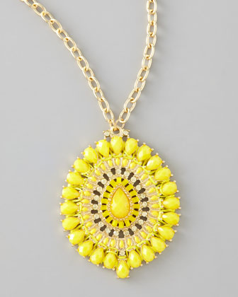 Epoxy Pendant Necklace, Yellow