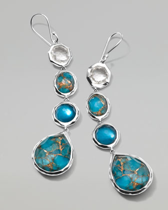 Wonderland Silver Four-Stone Drop Earrings, Malibu