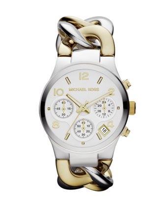 Mid-Size Golden/Silver-Color Stainless Steel Link Watch