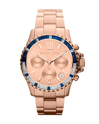 Mid-Size Rose Golden Stainless Steel Everest Chronograph Glitz Watch
