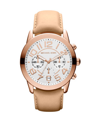 Mid-Size Rose Golden Leather Mercer Chronograph Watch