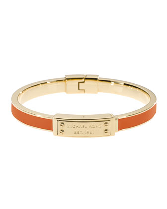 Skinny Logo-Plaque Bangle, Tangerine/Golden