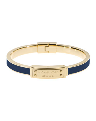 Skinny Logo-Plaque Bangle, Navy/Golden
