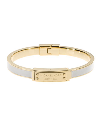 Skinny Logo-Plaque Bangle, Ecru/Golden
