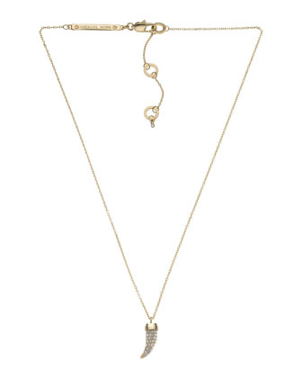 Pave Horn Pendant Necklace, Golden