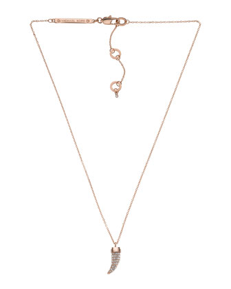 Pave Horn Pendant Necklace, Rose Golden