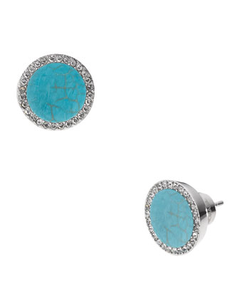 Pave Slice Stud Earrings, Turquoise/Silver Color