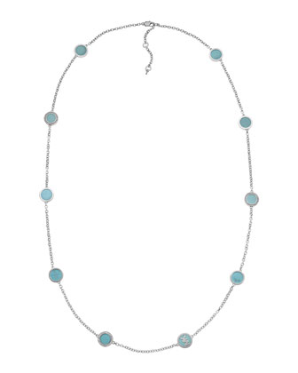Turquoise-Station Necklace, Silver Color