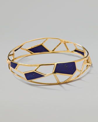 Polished Rock Candy Mosaic Bangle, Lapis