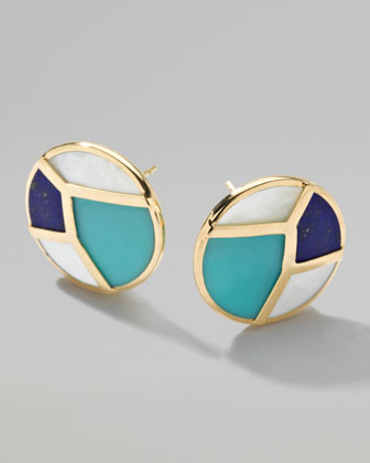 Gold Rock Candy Multi-Stone Mosaic Stud Earrings