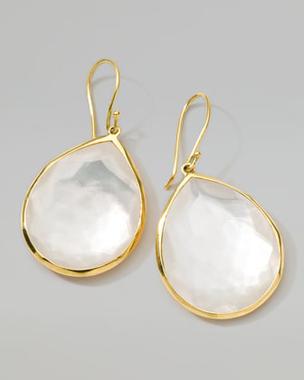 18k Gold Rock Candy Large Mother-of-Pearl Teardrop Earrings