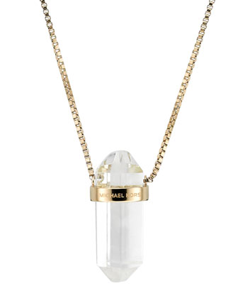Quartz Pendant Necklace, Golden