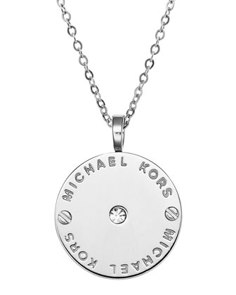 Logo Disc Necklace, Silver Color