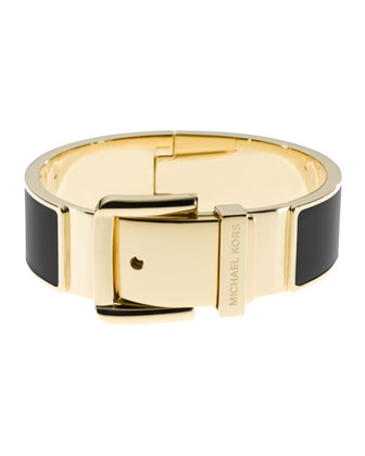 Wide Buckle Bangle, Golden/Black