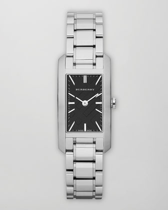 Check Dial Rectangle Watch, Steel/Black