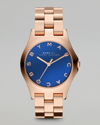 36.5mm Rose Golden Watch, Maliblue