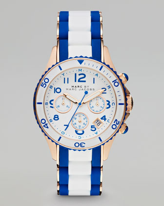Rock Rose Golden Enamel Watch, White/Blue