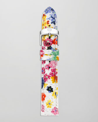 18mm Floral Patent Watch Strap, White/Multicolor