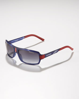 Children's Small Classic Carrerino Sunglasses, Blue/Red