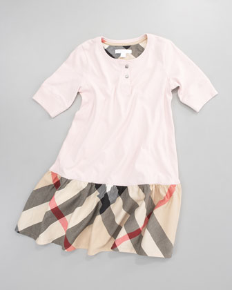Henley Check-Skirt Dress, Ice Pink