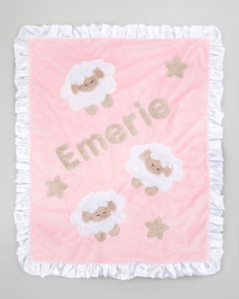 Pink Sheep Blanket, Monogram