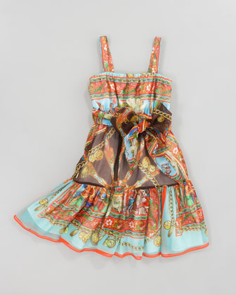 Printed Silk-Chiffon Sun Dress, Sizes 8-10