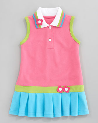 Bright Mix Knit Pique Dress, Sizes 2T-3T
