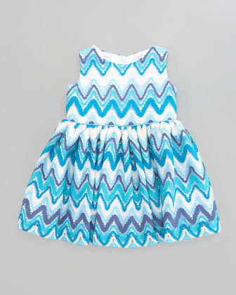 Multi-Chevron Dress, Aqua