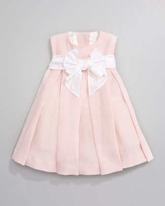 Linen Pleated Dress, Light Pink