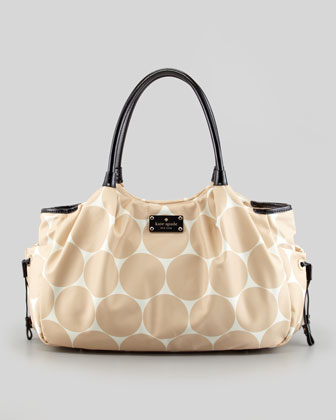 stevie dot-print large diaper bag, beige