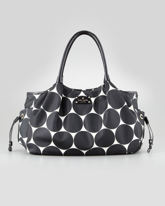 stevie dot-print large diaper bag, black/cream
