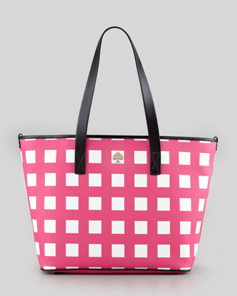 harmony check diaper bag, pink/cream