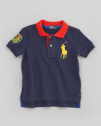 Navy Big Pony Contrast-Collar Polo, Sizes 2-7