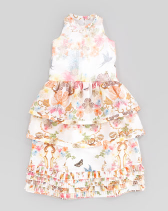 Silk Floral Dress, Sizes 8-10