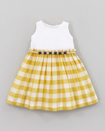 Eyelet and Taffeta Square Dress, Yellow/White