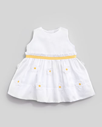 Floral Applique Dress, White/Yellow