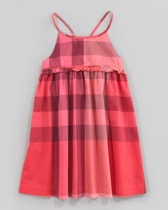 Check Halter Sundress, Pomegranate Pink