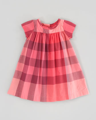 Pomegranate Pink Check Voile Dress, 6m-3Y