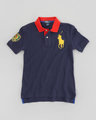 Big Pony Contrast Collar Mesh Polo, Graphic Navy, Sizes 8-10