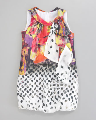 Mixed-Print Chiffon Bubble Dress, Sizes 2-6