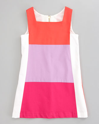 Tricolor Ponte Retro Dress, Sizes 2-6
