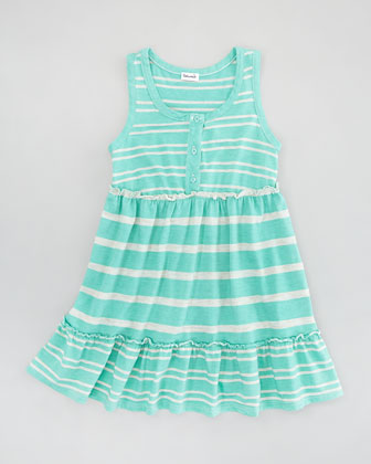 Sugarcane Striped Tank Dress, Seashell, Sizes 4-6X