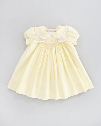 Scalloped Smocked Poplin Dress